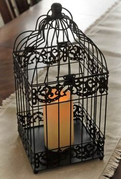 Battery Operated Bird Cage Lantern 15.5in|Black