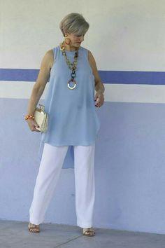 Pants blue shirt cruise fashion, 60 fashion, over 50 womens fashion, fashio Over 60 Fashion, Over 50 Womens Fashion, 50 Fashion, Plus Size Fashion, Fashion Outfits, Fashion Trends, Ladies Fashion, Fashion Ideas, Fashion Spring
