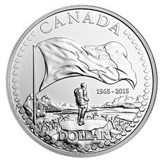 Brilliant Fine Silver Dollar - 50th Anniversary of the Canadian Flag (2015)