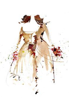 """Peinture aquarelle mariage pour décorer vos faire-part """"mariage gay femmes"""""""