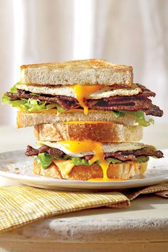 The Ultimate Fried Egg Sandwich with BBQ Bacon - 68 Ways with Farm-Fresh Eggs - Southernliving. Recipe: The Ultimate Fried Egg Sandwich with BBQ Bacon Clumsy? Skip the flip, and finish your fried egg under the broiler for minutes. Easy Egg Recipes, Bacon Recipes, Brunch Recipes, Breakfast Recipes, Cooking Recipes, Breakfast Dishes, Delicious Recipes, Bacon Meals, Brunch Foods