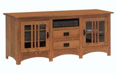 "Amish Mission 65"" TV Stand with Two Doors and Drawers Plenty of storage options in mission style solid wood. Choice of wood type and finish color. Amish made in America. #TVStands #livingroomstorage"