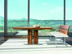 Pedestal dining tables make a small room feel larger, Stretto Dining Table by Team 7 at Wharfside