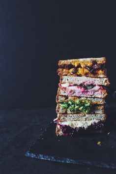 Vegan Grilled cheese sandwich recipes | Broccoli cheddar / raspberry basil / lavender lemon blackberry ricotta / sun dried tomato and cheddar / caramelized onion and cheddar // perfect for lunch. YUM