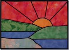stained glass sunset wall hanging
