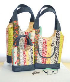 Fig Tree Quilts  PDF and regular pattern.  1 jelly roll will create all three bags