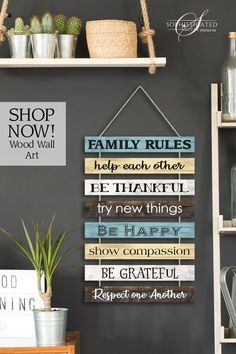 """Each plank is solid wood with neutral color combination and a hint of serene blue. Connected by jute rope, easy to hang, and the perfect piece if home decor. Family Rules' wood wall hanging, shows positive and inspirational words to everyone. x x ¼"""". Home Decor Wall Art, Diy Home Decor, Hanging Quotes, Art Pariétal, Family Rules Sign, Happy Show, Diy Wood Signs, Pallet Signs, All Family"""