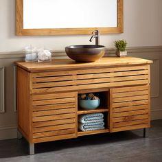 """48"""" Caldwell Teak Vanity Cabinet - Drain Drillings"""