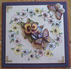 M.K - vlinders, borduurpatroon Karinscreations, knipvel Yvonne