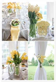 Love the grey table cloth with yellow decorations! Might change the yellow to my wedding colour though