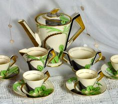 1930s Art Deco Coffee/Tea Set with Palm Tree Pattern ~ Pottery Ambassador Ware England