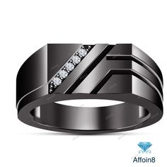 0.30 CT Round Cut D/VVS1 Diamond Men's Wedding Band Ring In 925 Silver Size 7-14 #Affoin8 #MensWeddingRing