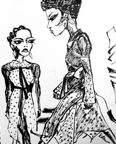 «Quick morning sketch inspired by @lineisymontero and Karly wearing @proenzaschouler in @wmag styled by @edward_enninful #michellevella #nyfw16…»