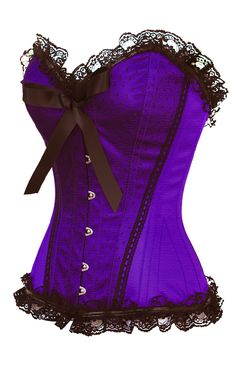 Fabulous Purple with black wrap satin, steel bones and burlesque dreams!  The Violet Vixen - Pinup Doll Purple Corset, $72.00 (http://thevioletvixen.com/corsets/pretty-polly-dupion-purple-corset/)
