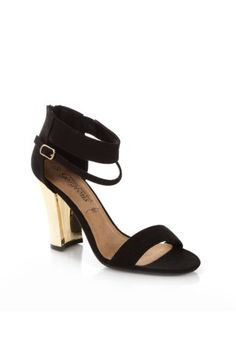 New Look Mobile | Black Metal Heel Ankle Strap Shoes
