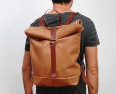 Leather Backpackmediun brown  color with by NATURALHERITAGEBAGS, €110.00