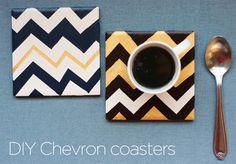 DIY Chevron coasters. Acrylic paint, seal, masking tape, ceramic tile and felt.