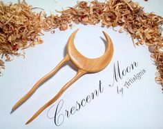 """Hair Fork """"Crescent Moon"""", Double-Sided , Handmade Linden Wood Hair Pin, Handcarved Moon, Hair Fork, Hair Stick - MADE TO ORDER"""