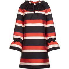 Vivetta Multi Stripe Satin Frill Collar Dress ($545) ❤ liked on Polyvore featuring dresses, short sleeve dress, long dresses, long striped dress, v neck long dress and blouson dress