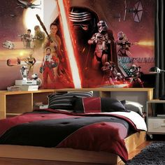 Star Wars: Episode VII The Force Awakens SureStrip Wallpaper Wall... ($235) ❤ liked on Polyvore featuring home, home decor, wallpaper, multicolor, multi coloured wallpaper, star wars home accessories, colorful wallpaper, paper wallpaper and roommates decor