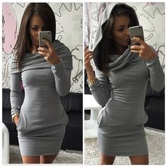 Stylish Long Sleeve Mini Dress Unique style, sexy and elegant.                                                                                                      Material: Polyester, Cotton Blend Collar: Polo Neck Pocket: Side pockets Style: Stretch, Bodycon Dresses Long Sleeve