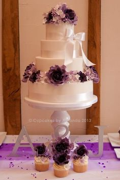 Purple Wedding Cake.  I love the stand here.