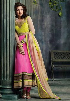 Utsav Fashion : pink-net-anarkali-churidar-kameez