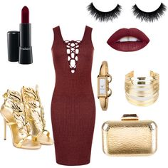 Gold/Wine style by passionforstyleandfashion on Polyvore featuring WearAll, Giuseppe Zanotti, KOTUR, WithChic, Gucci and MAC Cosmetics