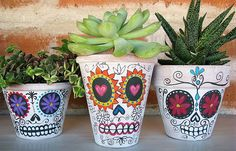 DIY: Day of the Dead Planters @Kimberly Hersey awesome pictures for a b-day party...just sayin'