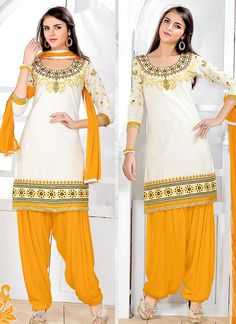 White Wholesale Patiala Salwar Suit In Glace Georgette Fabric
