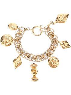#Chanel Vintage Charm Bracelet - Rewind Vintage Affairs - farfetch.com #bling #gold