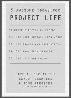 Project Life Ideas for non PL LOs