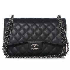 Chanel Black Quilted Caviar Classic Jumbo 2.55 Double Flap Bag with Silver  hardware. Taschen, 5980635c93