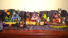 Halloween Party Decor Entire Vintage Inspired Putz House Village, 3 houses & Extras decorations, Made for Light in Back, Bottle brush Tree