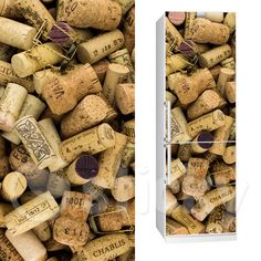 Fabric Fridgy Sticker WINE CORKS by Sticky!!! Wine Corks, Gift Wrapping, Stickers, Kitchen, Fabric, Gifts, Paper Wrapping, Baking Center, Tejido