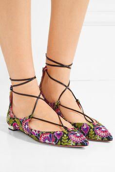 Aquazzura | Christy embroidered canvas point-toe flats | NET-A-PORTER.COM