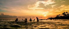 https://flic.kr/p/qRjKBv | XT1A4042 | Young group of people in ocean at sunset Polhena beach Sri Lanka