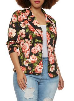 Plus Size Blazer in Floral Print - 0932062700241