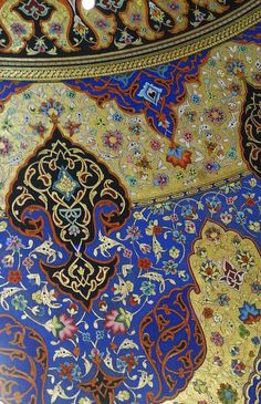 Persian Tazhib by Mohsen Aghamiri Arabic Calligraphy Design, Islamic Calligraphy, Arabesque, Middle Eastern Art, Illumination Art, Persian Pattern, Islamic Patterns, Turkish Art, Animal Fashion