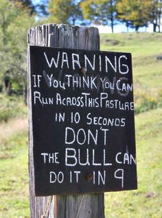 """Warning. If you think you can run across this pasture in 10 seconds; don't. The BULL can do it in 9."""