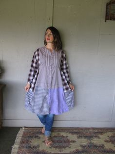 Sold to Jane  Final payment  Balance owing $42.75                               upcycled clothing Boho country plaid patchwork dress loose maxi dress oversize XL-1X Eco refashioned repurposed recycled by LillieNoraDryGoods  For work or play ...........fun, casual, comfy relaxed style  - cotton and cotton blend pieces put together in a unique way, loose fit, drop shoulder, casual and comfy country style dress with tie to adjust the fit slightly thru the bust Colors .......... mauves, white…