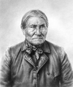 "https://flic.kr/p/XSiiDz | Goyahkla (Geronimo) | Drawn in charcoal. Image size: 12 x 10"""