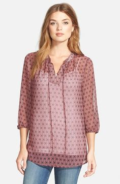 Pleione Print Tie Neck Chiffon Peasant Blouse available at #Nordstrom