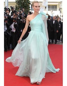 Chiffon One Shoulder Ruching Mint Diane Kruger Celebrity Dress on Sale at Persun.co.uk