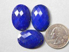 3 Pieces 25x18 mm Checker Cut Lapis Lazuli Gemstone by KGNSHOP