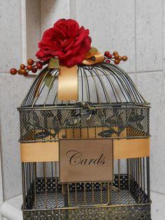 Birdcage Wedding Card Holder / Black Gold Red Decor