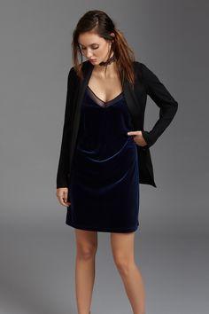 Velvet Slip Dress with Mesh