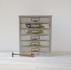Vintage Metal 6 Drawer Small Storage By Thegoldgator