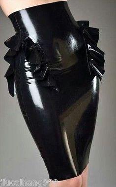 100-Latex-Rubber-Gummi-Skirt-0-48mm-Dress-Office-Uniform-Mini-Catsuit-New