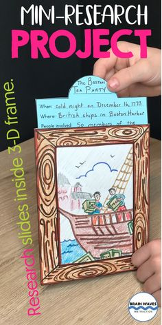 This mini-research project is designed to be fun and meaningful! Students will research a person, place, animal, or event and display their research in a picture frame. The picture frame will include a picture (either sketched or printed) of their topic. Then, students' research will slide into the picture frame's pocket. There are research project templates, research graphic organizers, and research materials for every aspect of the project included. New Years Activities, Library Activities, Art Activities, Social Studies Classroom, Teaching Social Studies, Teaching Tools, Teaching Ideas, Boston Tea Parties, Working Memory